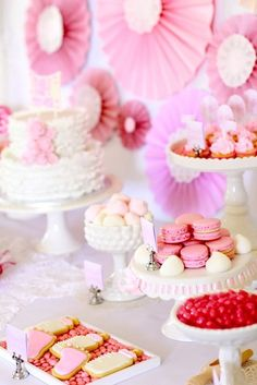 Dessert table at a Pink Baby Shower #babyshower #desserttable