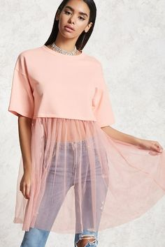 A combo tunic featuring a French Terry knit sweater, with a round neck, dropped shoulder short sleeves , and finished with an attached sheer mesh hem. Fashion Mode, Hijab Fashion, Diy Fashion, Ideias Fashion, Fashion Dresses, Womens Fashion, Fashion Design, Diy Outfits, Cute Outfits