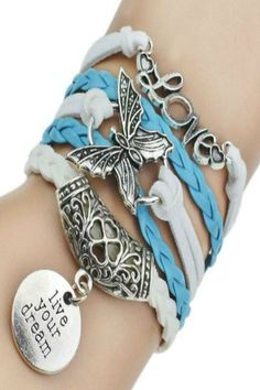 'Live Your Dream' Faux Leather Bracelets - Baby Blue