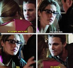 Arrow - Felicity & Oliver #2.7 Oliver has literally gotten hit by a car and strolled away, bullets are nothing