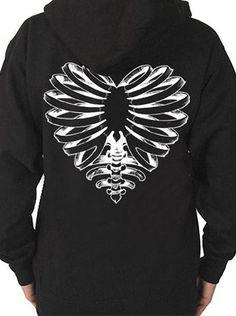 """Unisex """"Skeleton Heart"""" Zip-Up Hoodie by Cartel Ink (Black)"""