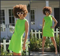 mollym Vintage 60s Mod Sheath Shift Trapeze Mini Dress A line dress-Mad Men XS S M GREEN. $59.99, via Etsy.