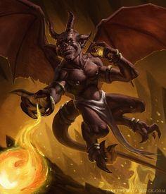 Demonic Artwork | Lesser Fire Imp Picture (2d, fantasy, fire, imp, magic, demon)