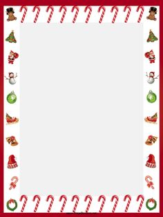 Candy Canes And Other Festive Images Adorn This Free, Printable Christmas  Border. Free To