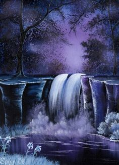 The Night Of The White Lily by Spikylein Painting & Drawing, Watercolor Paintings, Waterfall Paintings, Wine And Canvas, Pictures To Paint, Acrylic Art, Beautiful Paintings, Art Techniques, Painting Inspiration
