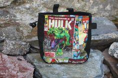 Marvel Chalk Bag with adjustable belt and large back pocket comic book chalk bag Climbing Chalk Bag, Rock Climbing, Comic Book Style, Comic Books, Fabric Panels, Bouldering, Fabric Patterns, The Incredibles, Marvel
