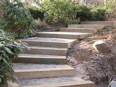 Type: railroad tie stairway Found: diy blog, hard work