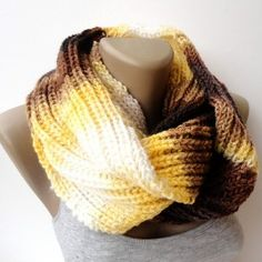 yellow brown knitted scarf, infinity scarf, circle scarf,... | Shop accessories, fashion | Kaboodle