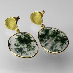 Moss Agate Slice Earrings,Barbara Heinrich