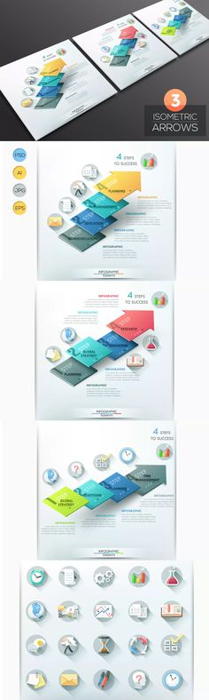3 Isometric Infographic Arrows Template AI, EPS, JPG, PSD