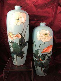 Pair Japanese silver wire cloisonné vases C19th