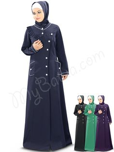 Beautiful Frilled Design Navy Blue Party Wear Jilbab   MyBatua.com   Tahera Front Open Jilbab !  Style No : AY-344  Shopping Link : http://www.mybatua.com/tahera-front-open-jilbab  Available Sizes XS to 7XL (size chart: http://www.mybatua.com/size-chart/#ABAYA/JILBAB)  •'V' neckline •Designer frilled yokeline  •Front open with titch button closure •Utility pockets on both sides with contrast piping at borders •Matching Square Hijab (100x100 cm approx.)