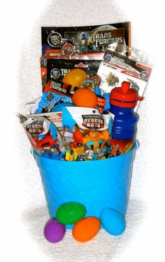 Transformers Gift Basket Great for A Easter Basket, Birthdays, Get Well or Any Time Diy Gift Baskets, Sidewalk Chalk, Basket Ideas, Easter Baskets, Kite, Cute Gifts, Transformers, Graham, Fundraising
