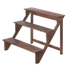 """Showcase your green thumb with this three-tiered plant stand that's perfect for any space. Made from fir wood with a rich brown finish, this tri-level stand will help you """"step up"""" when it comes to displaying your favorite potted plants and flowers. Item weight: 9.2 lbs. 30¾ x 29 x 24½ high. Fir wood. Plants not included. UPC: 849179024918. Some Assembly Required"""