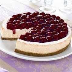 Creamy Baked Cheesecake Recipe I used blackberry sauce