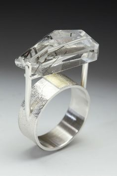 lona northerner: Sterling Silver, 18K Bimetal and Tourmalinated Quartz