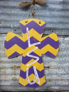Louisiana State University LSU X-Large Handpainted Distressed Chevron Design Wood Cross Door or Wall Hanger by shabbyandsuchdesigns on Etsy https://www.etsy.com/listing/158264979/louisiana-state-university-lsu-x-large                                                                                                                                                                                 More