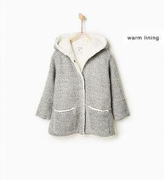 Image 1 de Duffle-coat en maille avec mouton synthétique de Zara
