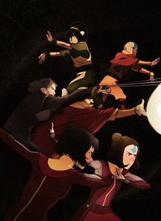 """beifongdynasty: """"Do you really think friendships can last more than one lifetime?"""" [Until I saw this piece I hadn't realized that Opal and Jinora are another generation that get to work together and carry on the original Team Avatar's legacy. Team Avatar, Avatar Aang, Blade Runner, Lin Beifong, Avatar Cartoon, Avatar World, Avatar The Last Airbender Art, Iroh, Korrasami"""
