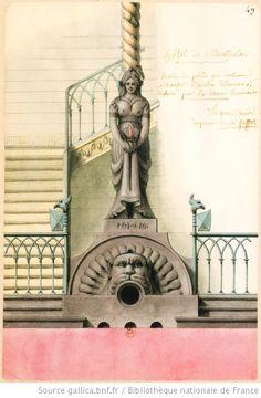 Jean-Jacques Lequeu Hôtel de Montholon. Dessin du poële qui doit échaufer [sic] l'escalier d'honneur ; Eclairé par la Diane lumineuse / Lequeu, fondé du pouvoir de Mr. Soufflot - 1