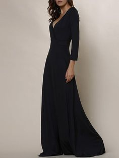 Sexy Plunging Neckline 3/4 Sleeve Solid Color Plus Size Dress For Women