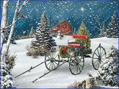 Winter: Christmas Delight Xmas New Year Cardinal Winter Holidays Trees Love Seasons Snowman Attractions Dreams Colors Creative Pre Greetings Beautiful Lovely Stars Snow White Pretty Wagon Wallpaper For Desktop for HD High Definition Wi Christmas Scenes, Christmas Past, Country Christmas, Christmas Pictures, All Things Christmas, Winter Christmas, Christmas Crafts, Christmas Decorations, Christmas Ornaments