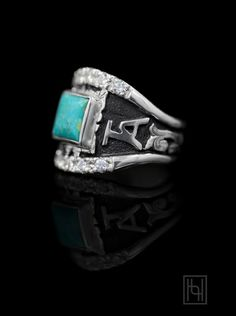 Turquoise & Ranch Brands!  Add your initials or band to this beauty!  Custom Texas RimRock Ring $ 350.00 SKU: BSR043RR Personalized Jewelry, Custom Jewelry, Custom Class Rings, Western Wedding Rings, Texas Girls, Cremation Jewelry, Sterling Silver Cuff Bracelet, Green And Gold, Jewelery