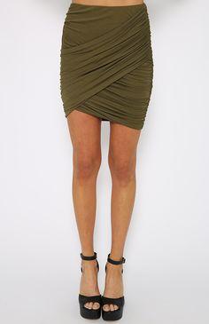 Yell At Me Skirt - Khaki | Clothes | Peppermayo