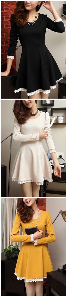 Elegant Round Neck Long Sleeve A-line Dress