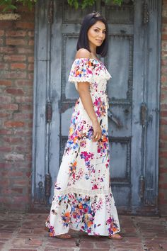 Lorelai Ivory And Floral Off Shoulder Maxi Dress