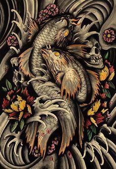 transition of life by clark north asian koi pond skulls flowers tattoo art print asian oriental japanese koi-fish traditional-asian-artwork