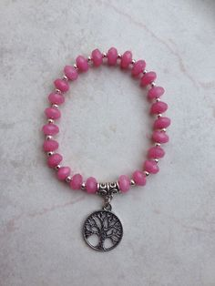 Bracelet  Pink Morganite Beads Silver Tone Lucky Tree Of Life Charm Bail Spacers