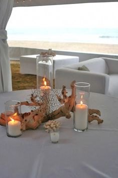 Wedding themes coral beach centerpieces Ideas for 2019 beach wedding Coral Centerpieces, Beach Wedding Centerpieces, Wedding Table Decorations, Centerpiece Ideas, Beach Decorations, Centerpiece Flowers, Simple Centerpieces, Beach Wedding Tables, Wedding Ceremony