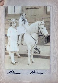 Vintage Photo Two Young Girls And a Horse abt 1920