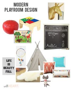 Modern playroom design.  Bright colors and items that encourage imagination and development | withHEART