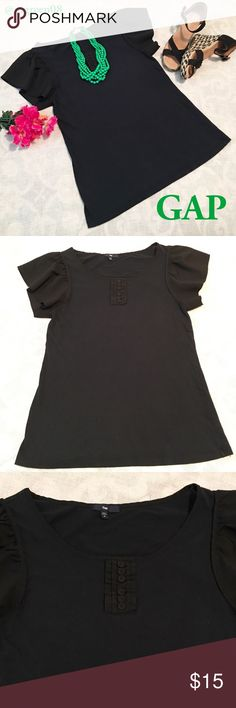 Gap Flutter Sleeve Top Gap black flutter sleeve top with button detail on front. Body 55% cotton 44% modal. Sleeve is 100% polyester. The button detail and flutter sleeve dress up this soft tshirt material top! GAP Tops Blouses