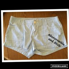 Abercrombie & Fitch pinstriped shorts size 6 Abercrombie & Fitch pinstriped light blue size 6 shorts. Worn a few times.  10 inches long 15.5 waist  Abercrombie & Fitch Shorts