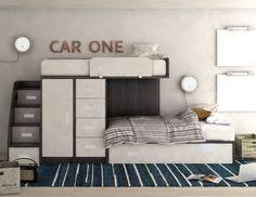 Komplett Kinderzimmer mit 2 Betten / Kleiderschrank / Stauraum Treppe Spielbett