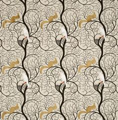 Squirrel & Dove (DVIPSQ301) - Sanderson Fabrics - The classic C.F.A. Voysey design with its Squirrel and Dove motif. Shown here in the embroidered Linen and Ivory colourway. Please request sample for true colour match.
