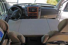 DIY Furniture | Campervan Conversion | Bed Modification | Roadtrek Modifications | Folding Mattress for Sprinter Van Front Seats