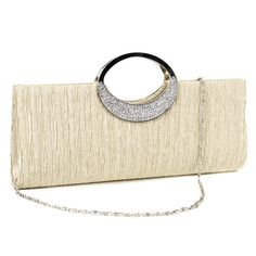 088783f06ae Rhinestone Ring Handle Sateen Pleated Clutch Prom Evening Satin-Look  Handbag - Beige - Bags