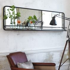 The Danube carriage mirror balances industrial style and sophistication perfectly. Living Room Decor Green Walls, Living Room Mirrors, My Living Room, Hallway Mirror, Mirror With Shelf, Mirror With Lights, Mirror Shelves, Wall Mirrors, Mirror Mirror