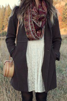 maroon vintage scarf - bronze vintage boots - ivory free people dress