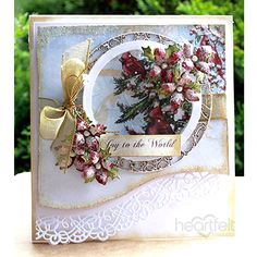 Joy To The World card made w/ Festive Holly collection from #HeartfeltCreations #Christmas