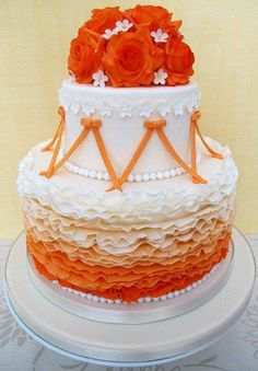 Love minus the flowers! Ruffles and Roses Wedding Cake - An amazing orange cake, I wonder if i can sneak some lime green in there :) Gorgeous Cakes, Pretty Cakes, Amazing Cakes, Just Cakes, Cakes And More, Wedding Cake Roses, Wedding Cakes, Ruffle Cake, Ruffles