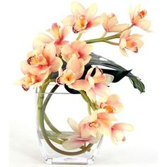 Distinctive Designs Waterlook Silk Cream-Pink Orchids with Philo Leaf in a Glass Vase