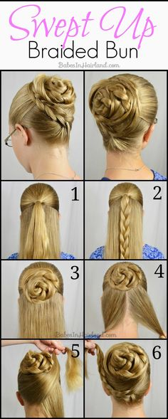 This Swept Up Braided Bun from BabesInHairland.com can be done in just minutes! It's so easy too! #bun #hair #hairstyle #updo #braids