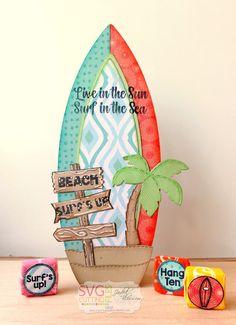The Cricut Bug: Jaded Blossom May Release Day Surfboard Treat Box Nautical Cards, Beach Cards, Luau Birthday, Diy Christmas Cards, Cricut Cards, Kids Cards, Holidays And Events, Mini Albums, Decoration