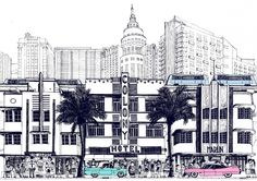 An homage to the glory days of south beach Miami (photo credit Paul Imrie) #miami #penart #palmtrees