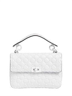 VALENTINO, Medium spike leather shoulder bag, White, Luisaviaroma - Height: 15cm Width: 23cm Depth: 7cm . Detachable metal chain shoulder strap . Detachable single leather top handle . Front flap with turn lock closure . All over studs. One internal zip pocket . Nappa leather lining